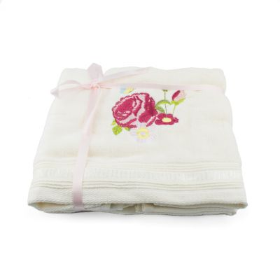 Royal Palace Rose embroidered floral cotton hand towel set