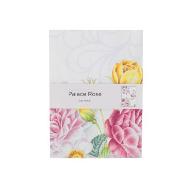 Royal Palace Rose pink floral cotton tea towel