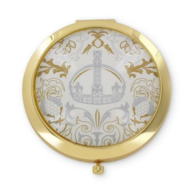 Royal Victoria Luxury White Compact Mirror with gold crown