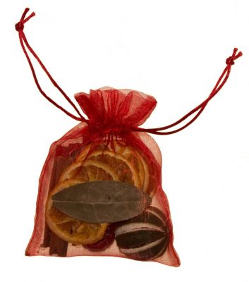 christmas red fruit organza bag