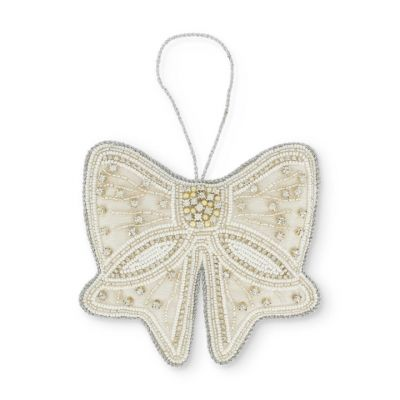 Elegant cream bow hanging decoration embellished with beads and sequins