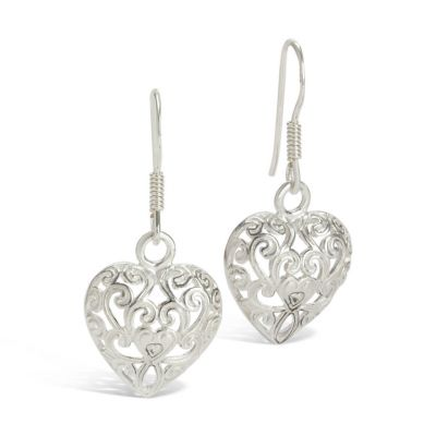 Kensington Palace sterling silver heart drop earrings