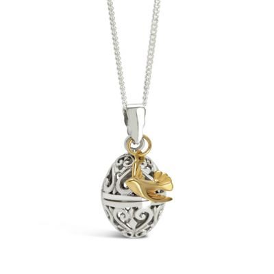 Sterling silver egg locket with gold bird - the perfect keepsake