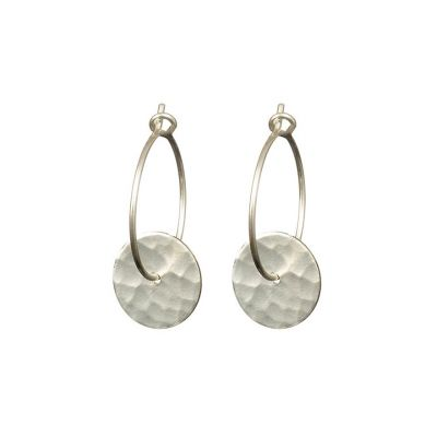 Silver hammered disc hoop earrings