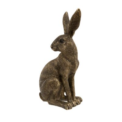 Golden sitting hare garden ornament