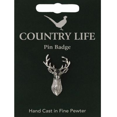 Stag pewter pin badge