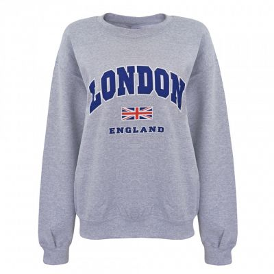 grey london union jack printed sweatshirt
