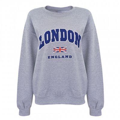 grey london union jack printed sweatshirt