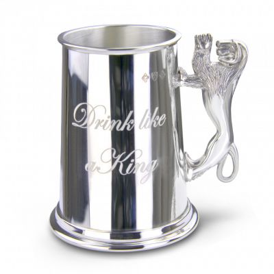 Drink like a king engraved pewter tankard with lion handle - Fine English pewter gifts