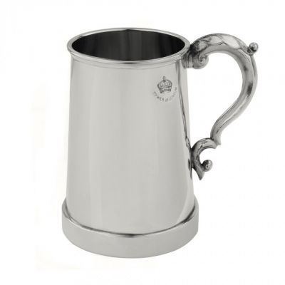 King's Shilling glass bottomed English pewter tankard (Tower of London)