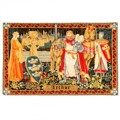 King Arthur medieval tapestry - leaving Queen Guinevere