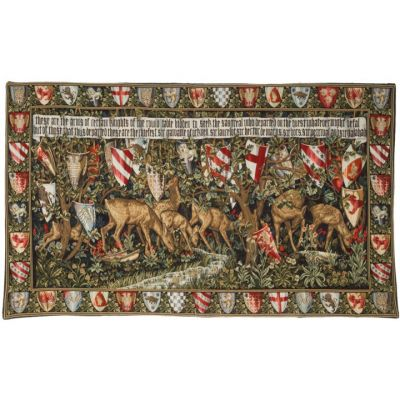 Verdure with deer and shields tapestry