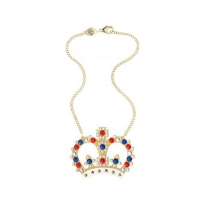 Tatty Devine large gold crystal crown necklace with red, white & blue jewels