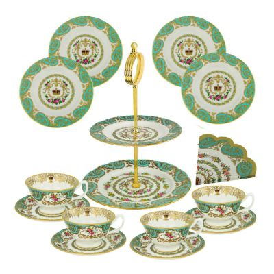 William Edwards Royal Palace Collection fine bone china afternoon tea set for four with cake stand - exclusive to Historic Royal Palaces