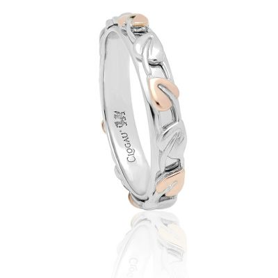Clogau Gold Tree of Life band ring - silver and rose gold