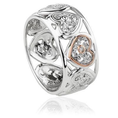 Clogau Tree of life heart band silver rose gold ring
