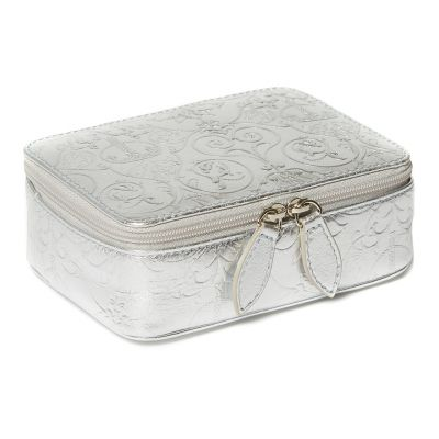 Royal Victoria Silver Metallic Leather Travel Jewellery Box