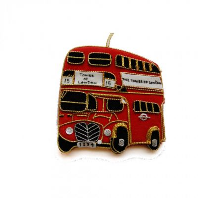 "St Nicolas collectable embroidered No.15 ""Tower of London"" London bus tree decoration"