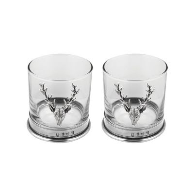 Pewter stag tumbler set of two (11oz)