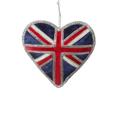 Union Jack hanging heart decoration
