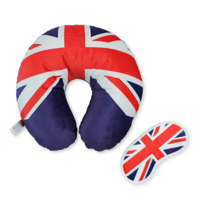 Union Jack travel pillow and eye mask gift set