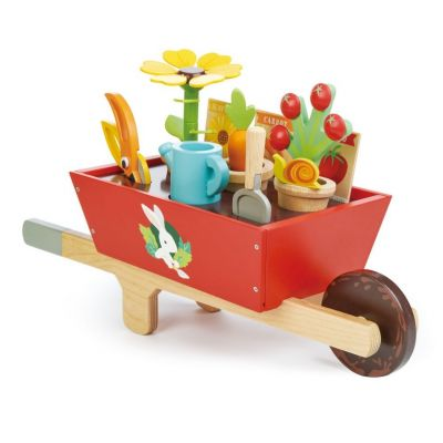 Traditional children's wooden garden wheelbarrow play set