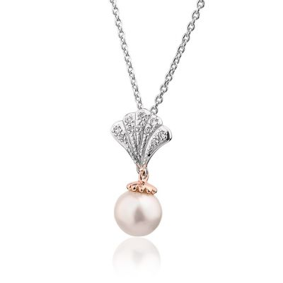Clogau Windsor Pearl and white topaz silver pendant