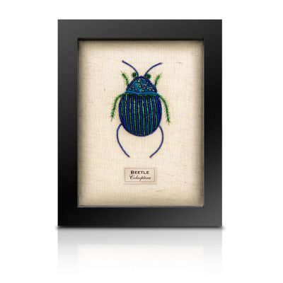 Embroidered felt taxidermy - small framed beetle