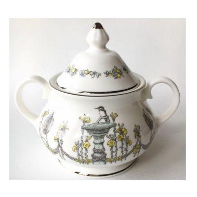 Atty & Smart English Kingfisher vintage style fine bone china sugar bowl with lid