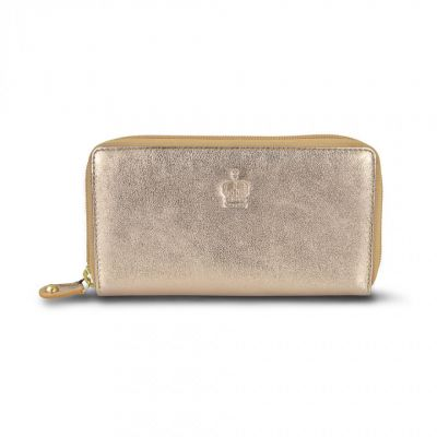 Crown gold leather zip purse