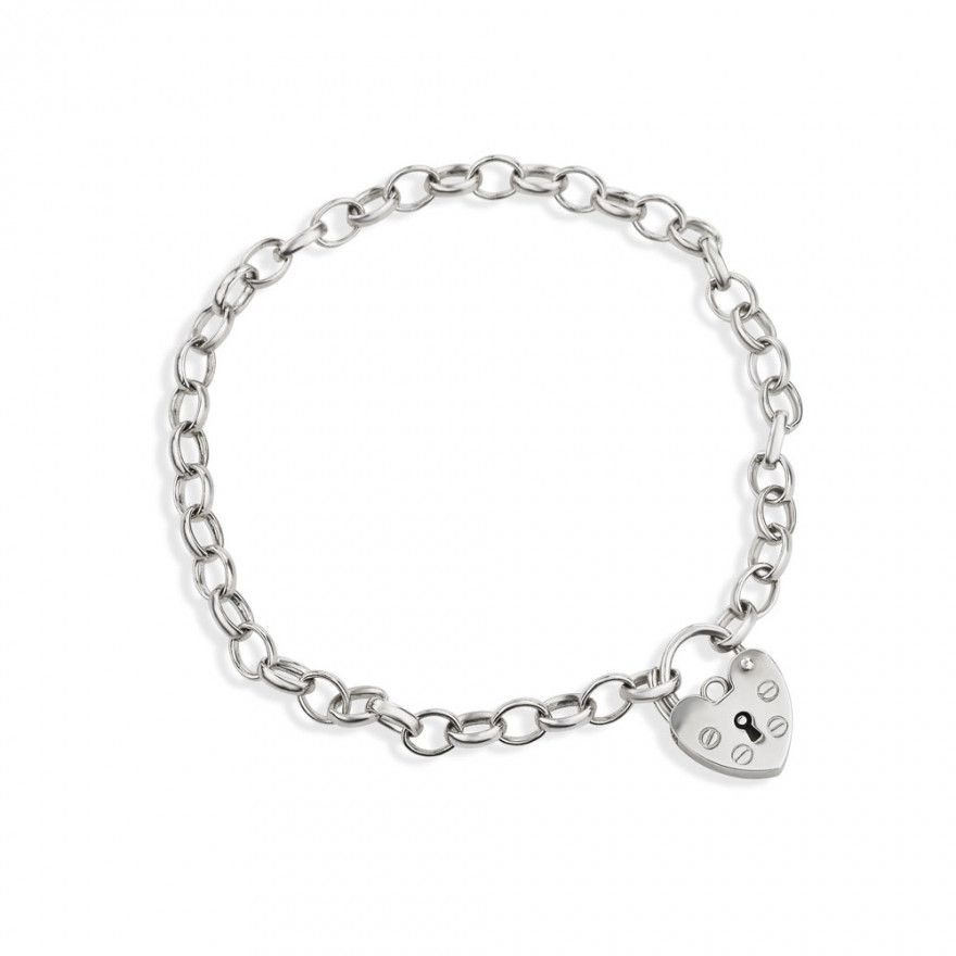 Beautiful Genuine Sterling Silver Curb Link Bracelet with Heart Padlock Charm