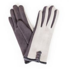 Amanda charcoal faux suede gloves