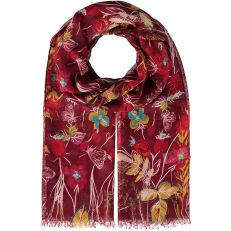 Red Floral Print Polyester Scarf