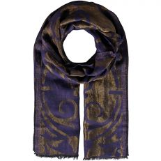 Dark purple woven gold swirl scarf