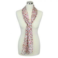 Orange and white 'Berries' silk summer scarf main image