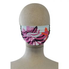 Floral pink print fitted face mask