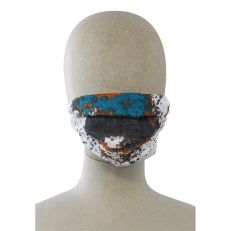 blue patterned print face mask