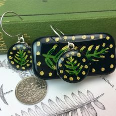 Forest fern sixpence earrings with tin