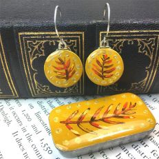 Mustard fern sixpence earrings with tin