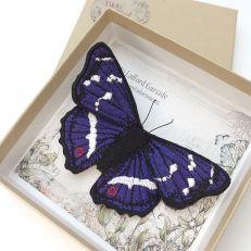 Purple Emperor Butterfly brooch