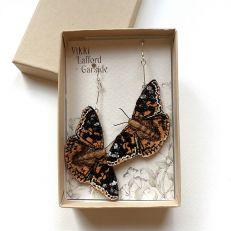 Painted Lady Butterfly Earrings in box