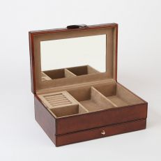 leather classic jewellery box open