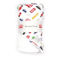 Little London baby hooded cotton towel