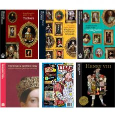 Bundle of six history books. Including Victoria Revealed, Time for Fun activity book, Henry 500 facts, Useful guide to the georgians, useful guide to Kings and Queens of England and Useful guide to the Tudors.