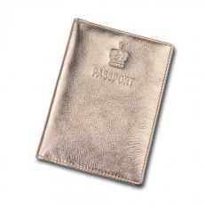 Crown gold leather passport holder