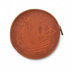 Half penny tan leather coin purse