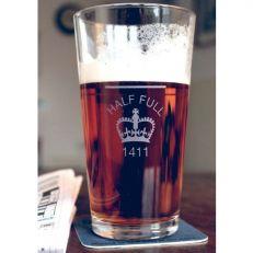 Half full pint glass