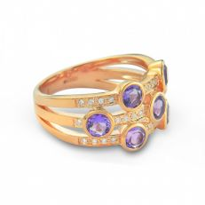 9ct rose gold diamond amethyst stacking ring