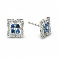 9ct white gold diamond sapphire stud earrings