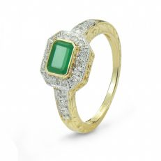 9 carat emerald and diamond ring